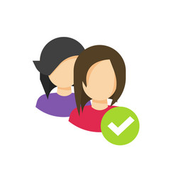 Two people with checkmark sign as community group vector