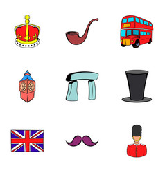 united kingdom icons set cartoon style vector image