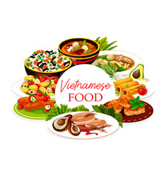 Vietnamese asian cuisine rice meat fish dishes vector