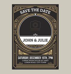 Vintage art deco wedding invitation card vector