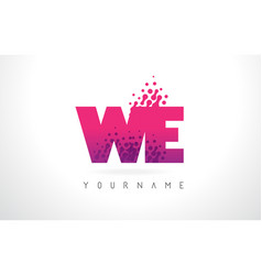 We w e letter logo with pink purple color and vector