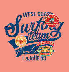 West coast california kids surfing team vector