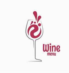 wine glass logo splash red wine vector image