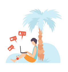 young man sitting under palm tree and vector image