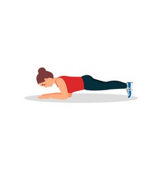 Young woman doing plank press exercise active and vector