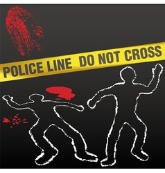 crime scene with police tape vector image vector image