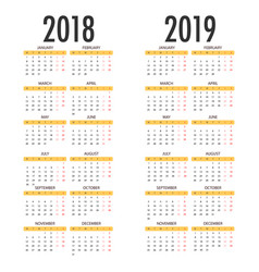 english calendar for years 2018 and 2019 week vector image