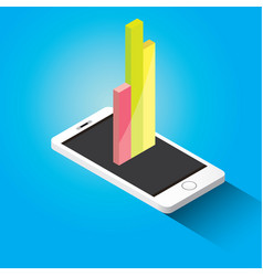 isometric smartphone with graph and charts vector image vector image