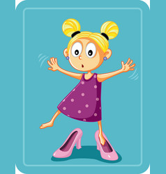 Little girl trying on mothers high heel shoes vector