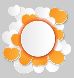 Paper white round speech bubbles and hearts vector image vector image
