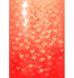 Red festive lights in heart shape background vector image vector image