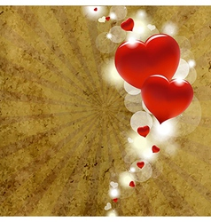 Red Hearts With Cardboard vector image