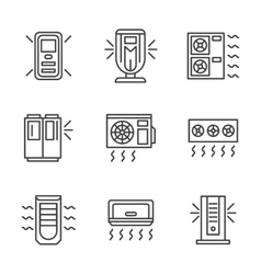 Air cleaning equipment black line icons set vector