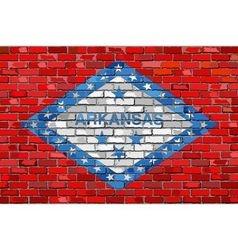 Flag of Arkansas on a brick wall vector image vector image