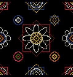 Background cross stitch ornament vector