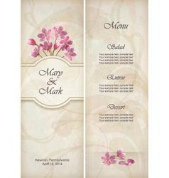 Floral decorative wedding menu template design vector image vector image