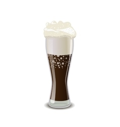 Full glass of cola with foam isolated on white vector image