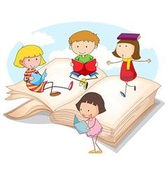 Many children reading books vector image vector image