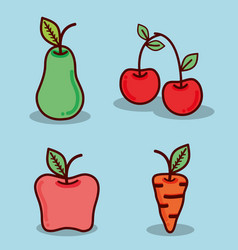 Pear apple cherry and carrot healthy food vector