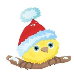 Cartoon little bird in Christmas Santa hat vector image vector image