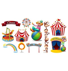 Circus set with games and characters vector image vector image