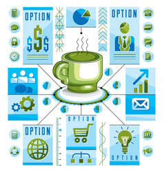 infographics circular concept with cup of tee or vector image