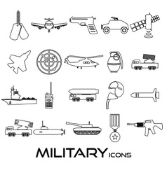 Military theme simple black outline icons set vector