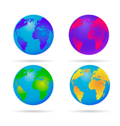 neon earth globe blue green yellow and red vector image