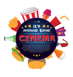 Round frame with cinema symbols vector