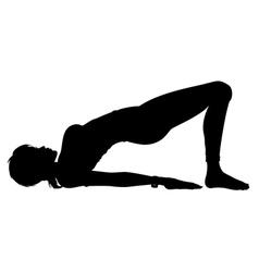 Silhouette Girl in the Yoga Bridge Pose vector image