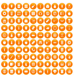 100 lunch icons set orange vector image