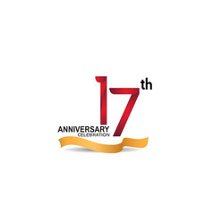 17 anniversary design logotype red color vector