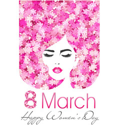 8 march happy women day poster with flowers vector