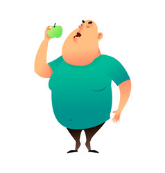 A fat man bites an apple useful habits and vector