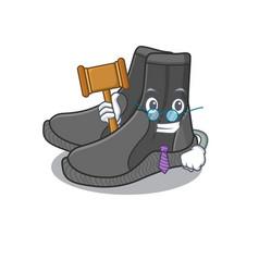 A judicious judge dive booties caricature vector