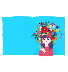 a spring girl in a wreath flowers on a blue vector image