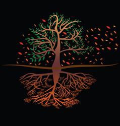 a tree leaves and roots cycle vector image