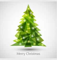 abstract christmas tree made green triangles vector image