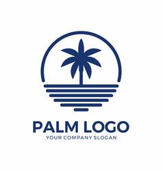 abstract circle palm logo design vector image
