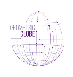 Abstract line and dots globe design isolated on vector