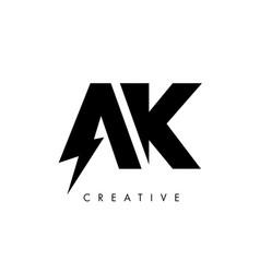 Ak letter logo design with lighting thunder bolt vector