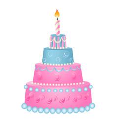 Anniversary pink cake icon cartoon style vector
