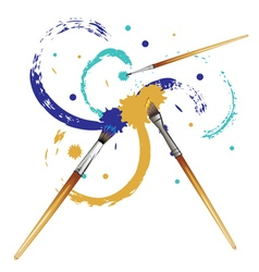 Artist Brushes with Paint4 vector