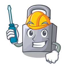automotive new metal padlock isolated on mascot vector image