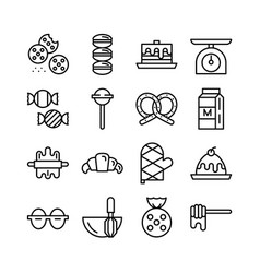 Bakery icon set outline icon collection vector