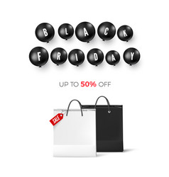 black friday discount poster with black balloons vector image