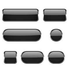 black glass oval round square buttons with vector image