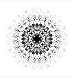 Black ornamental mandala with central eye vector