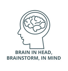 brain in headbrainstorm in mind line icon vector image