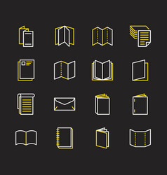 Brochure flat line icons business identity vector